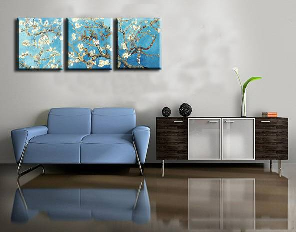 pear blossom under the blue sky 100% hand-painted 3pieces/set wall art home decoration oil painting