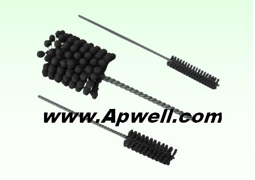 Abrasive flex-hone deburring brush