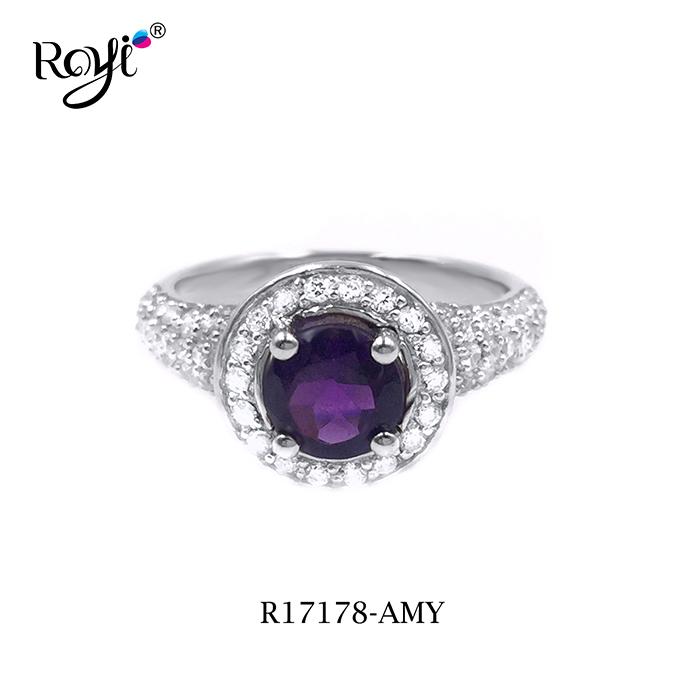 Fashion 925 amethyst stone silver ring