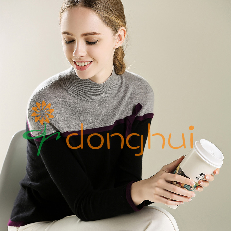 High quality good hand feel ladies high neck cashmere sweater with bowknot