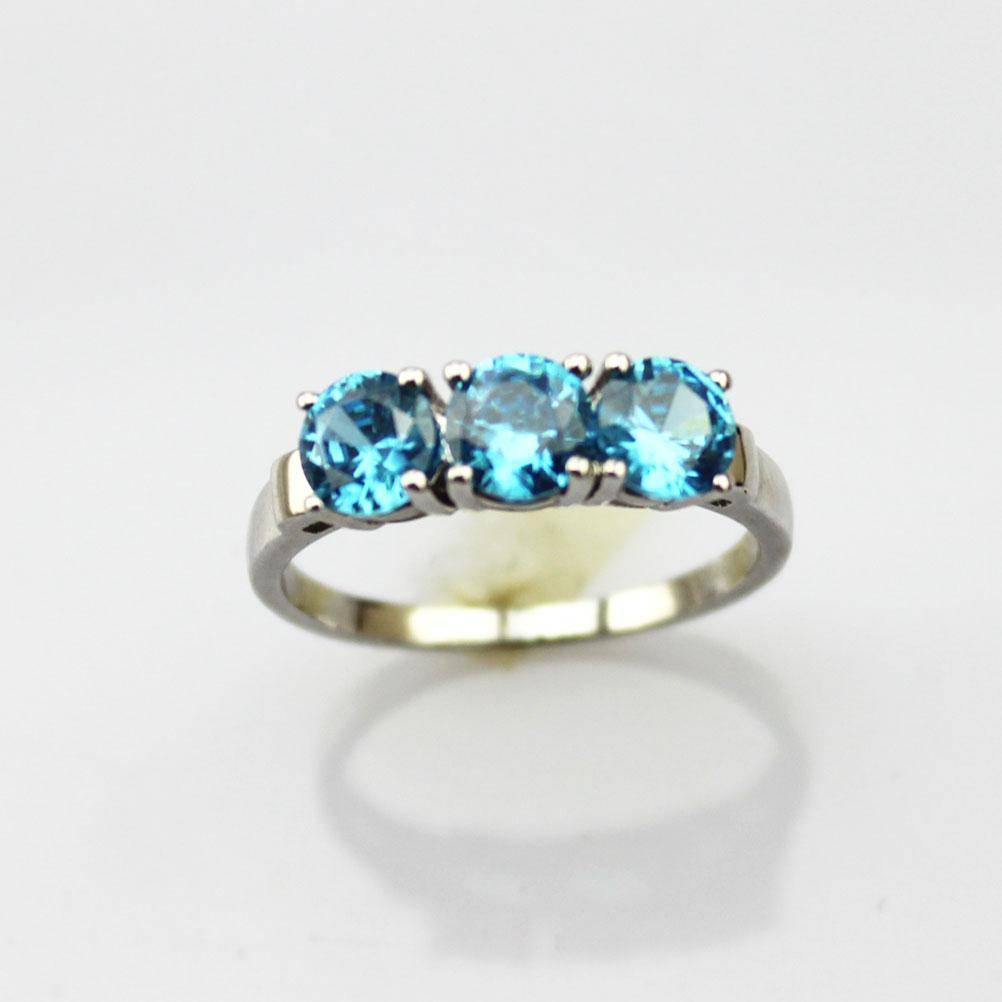 wholesale 925 silver jewelry sterling silver blue topaz three stones ring (JY034)