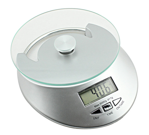 LCD electronic Plastic Kitchen Weighing Scale With Clock