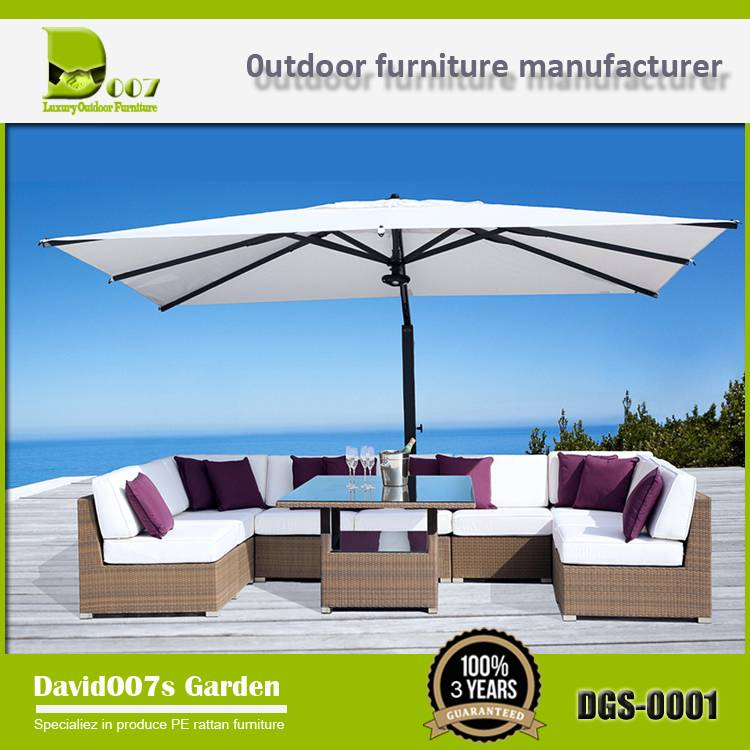 Modern outdoor furniture PE rattan garden sofa set