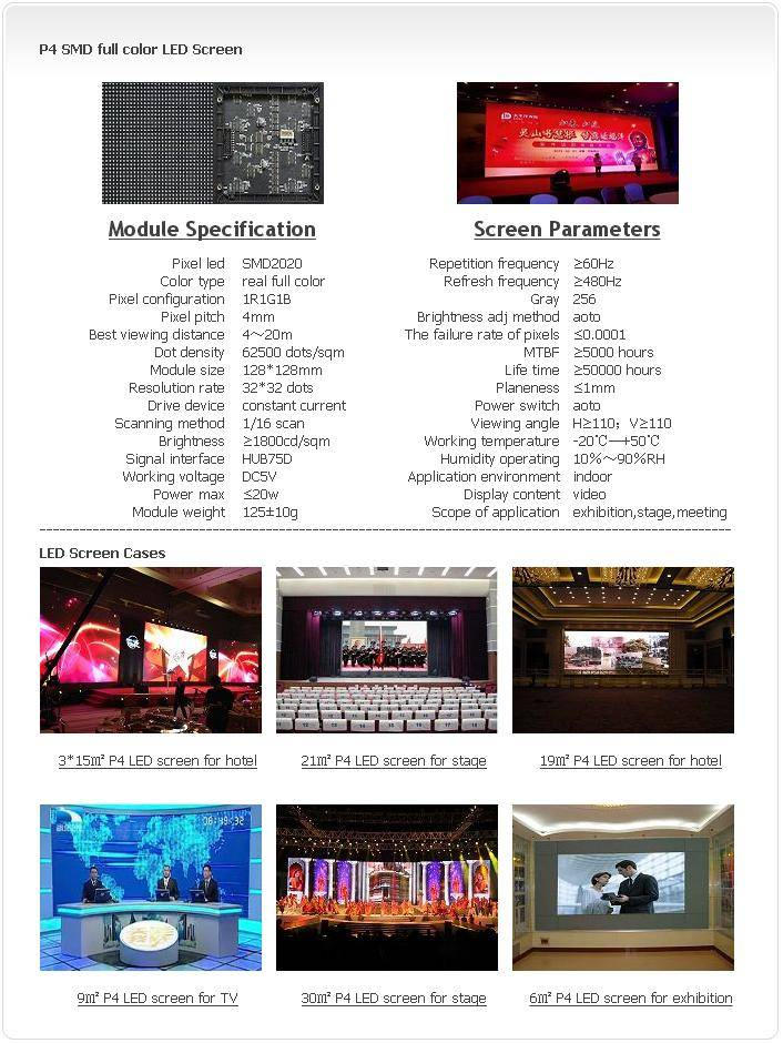 Selling Indoor P4 SMD 1R1G1B LED screen