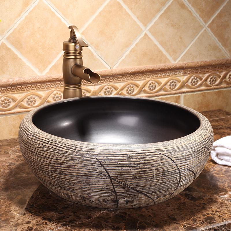 Hotel Modern Artistic High-end Luxury Porcelain Countertop Washbowl Ceramic Round Vanity Wash Basins