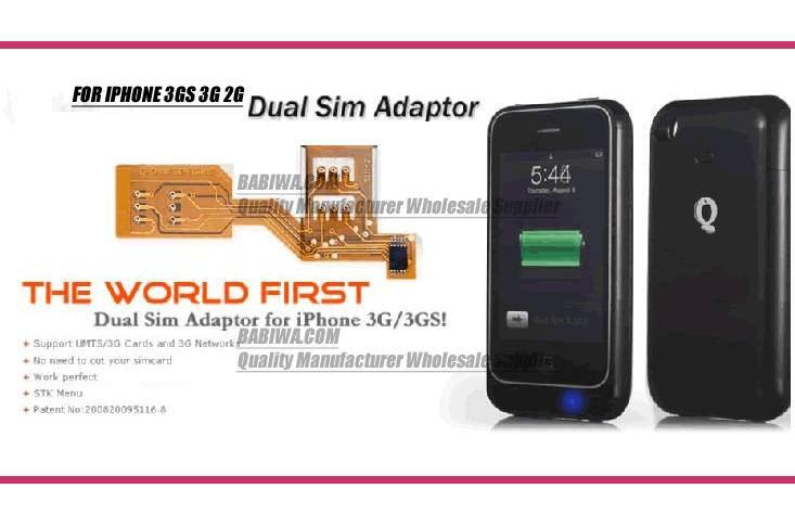 Genuine patended Dual Sim card adapter for Apple Iphone 3gs 3g 2g(first generation)