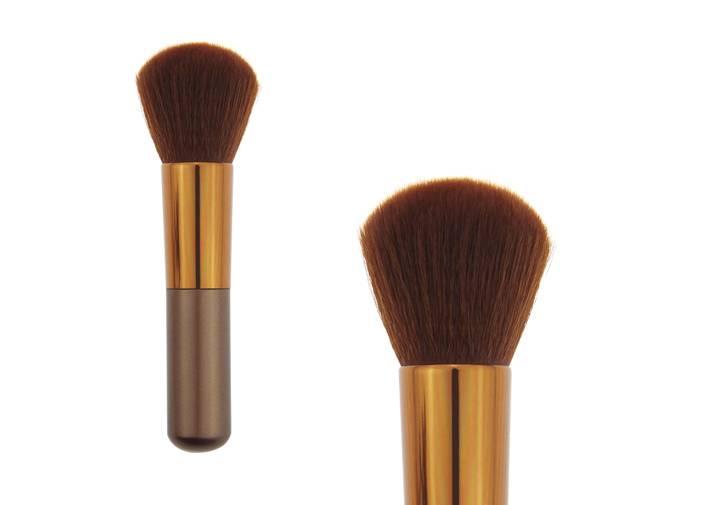 Short Wooden HandleShort Wooden Handle Cotour Blush Brush Brown Synthetic Hair Metal Ferrule Brush