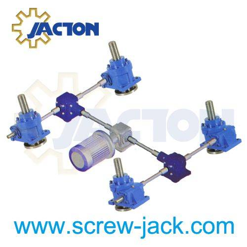 shaft and gearbox system to drive the 4 screw-jacks