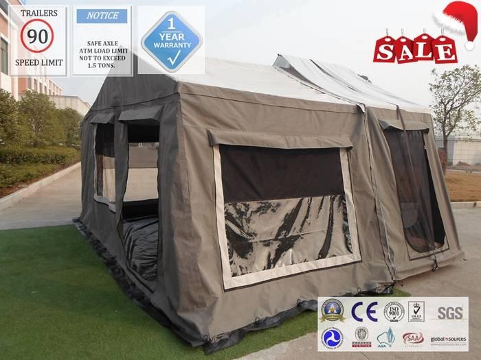 ADRs 62 Off road backward folding hard floor camping trailer with slide drawer under the bed