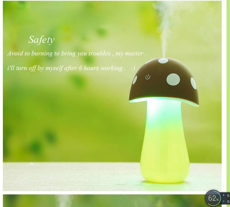 200ml, DC5V LED nightlight touch sensor humidifier/air purifier/ mushroom shaped air cleaner for roo