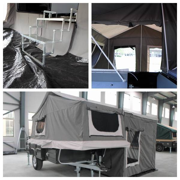 off road camping trailer with galvanized foldable step under the trailer and reinforced tent pole
