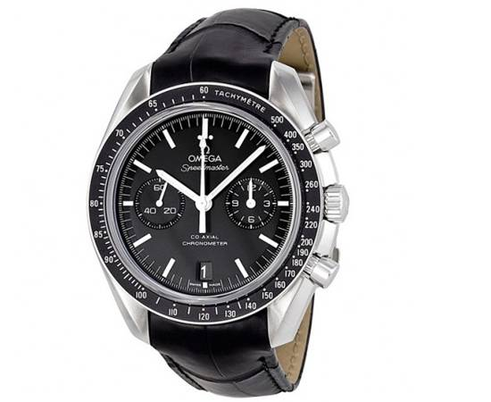 OMEGA Speedmaster Moonwatch Co Axial Chronograph Black Dial Leather Men's Watch