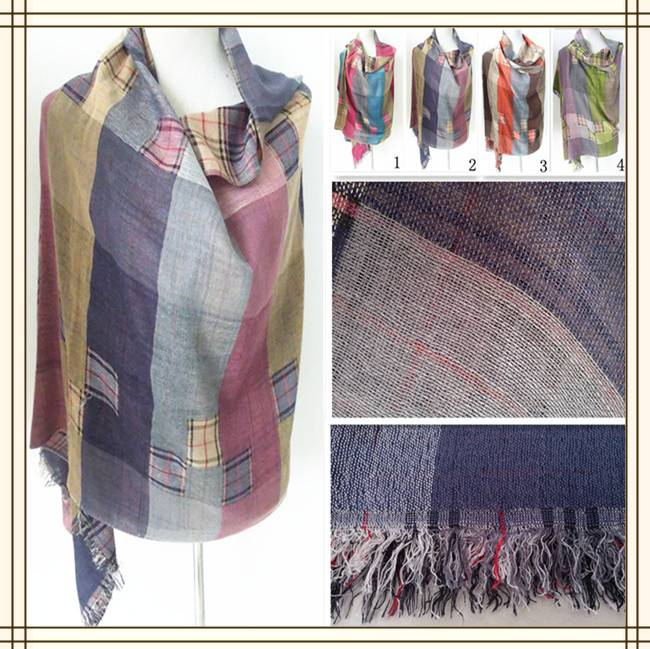 PG1214 lady's patchwork scarf 100%cotton hijab scarf woven check scarf