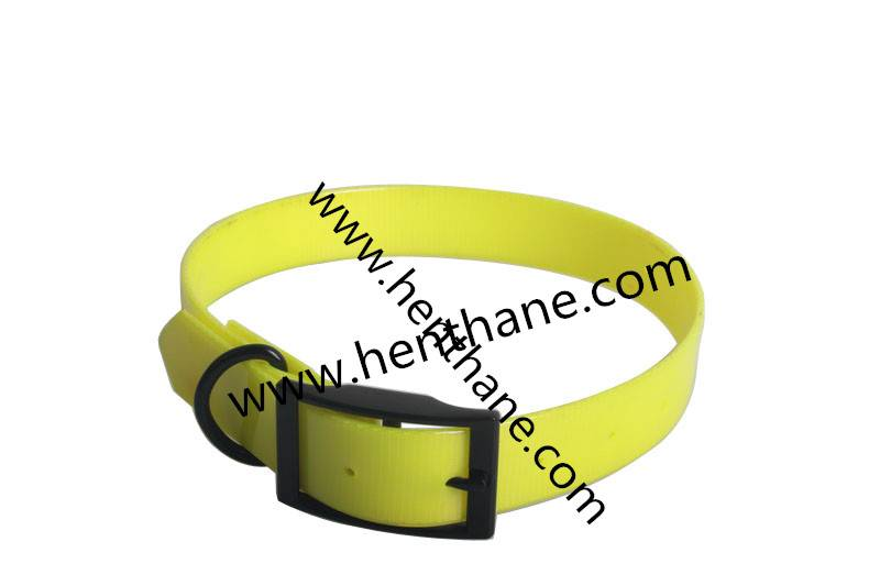 TPU polyester yellow led dog collar with black buckle