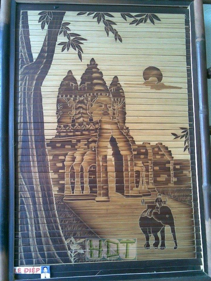 Handmade Bamboo Painting (Indian Pagoda Culture Artwork)_ This Is Not Painted