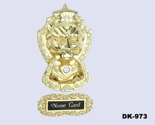 Golden Lion Door Knocker with Door Viewer Plus Name Tag(DK973)