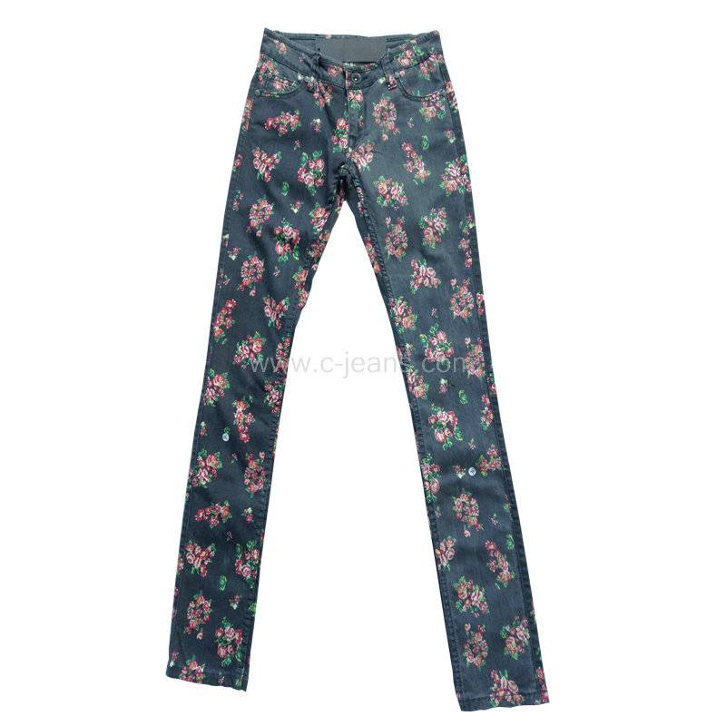 Lady's Stylish Straight Jeans. Women's Long Pants Print