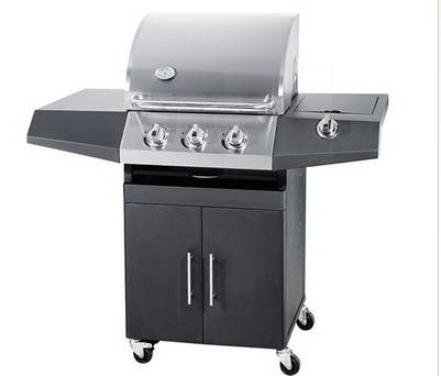 3 Main Burnr With 1 Side Burner Coating Body Gas Grill BBQ