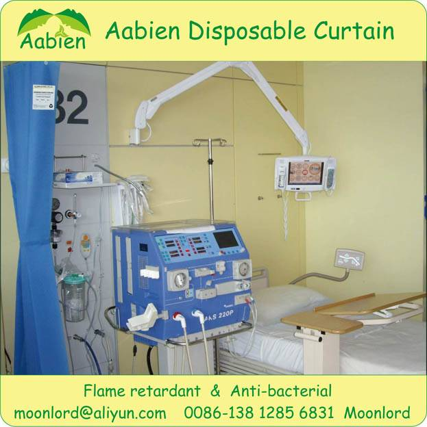 Disposable medical, clinic curtain with NFPA701