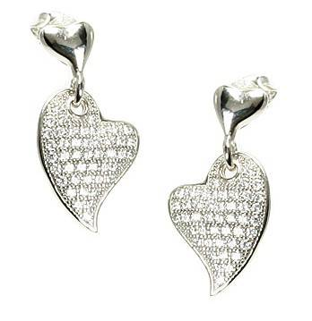 Serendipity Silver Cubic Zirconia Micro Pave Heart Dangle Earrings