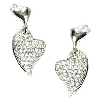 Serendipity Silver Cubic Zirconia Micro Pave Heart Dangle Earrings