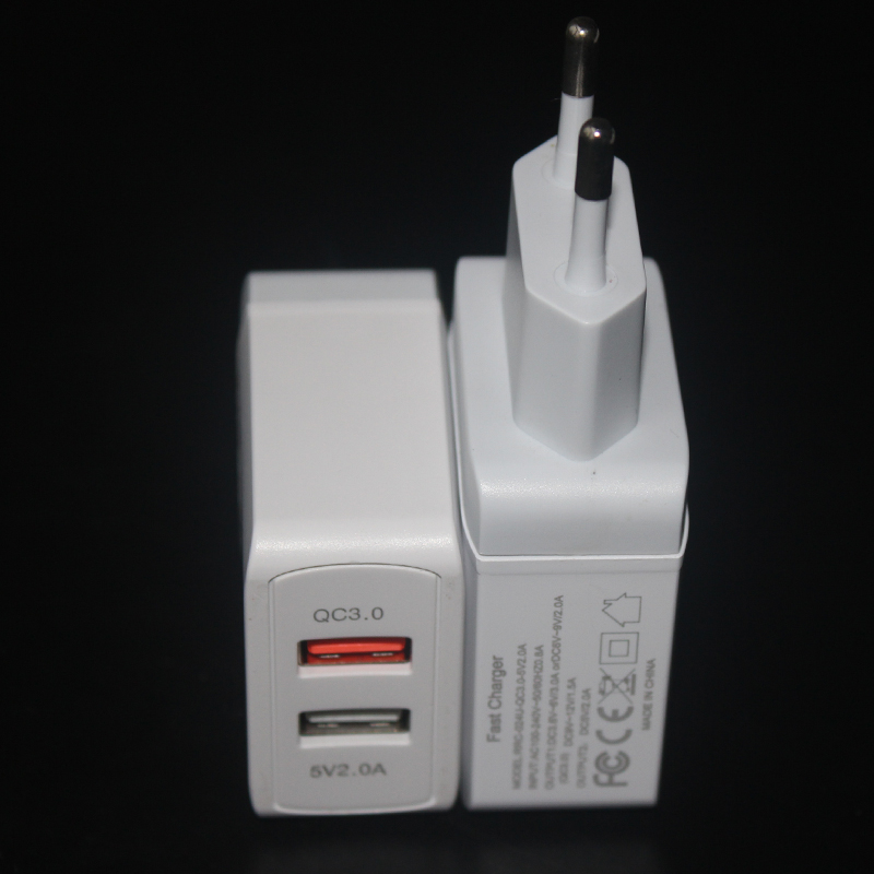 AIRNOLD EU Plug Quick Charge 3.0 USB Wall Charger 18W Dual Port Travel Adapter