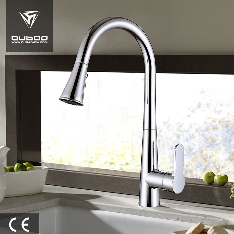 Retractable Faucet Pull Out Kitchen Tap Mixing Polished Chrome Faucet