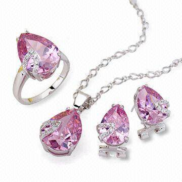 selling crystal ring pendant earing jewelry set JS032