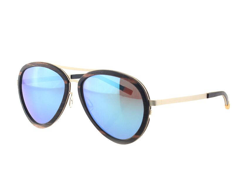 Aviator style wood frame sunglasses