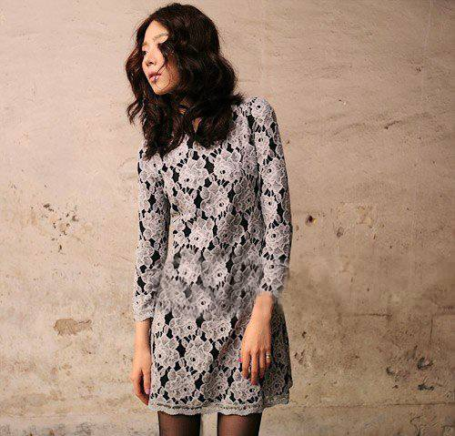 Classic Hollowed Out Elegance Lace Dress Gray