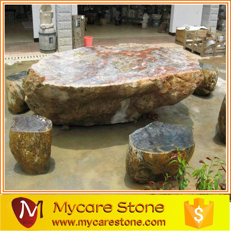 2015 china natural delicated customized garden stone table and chairs