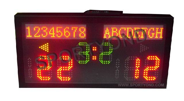 Electronic scoreboard with team name