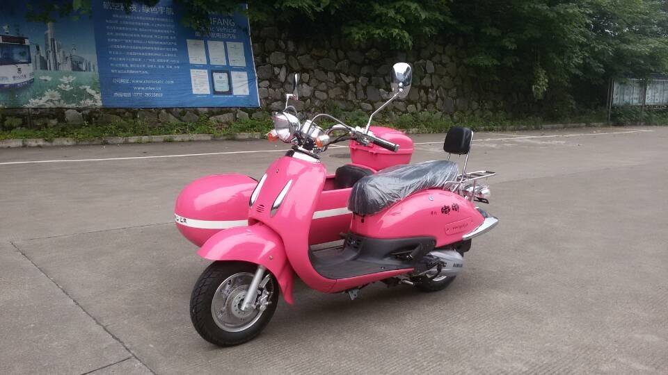 Pink color female motorcycle sidecar