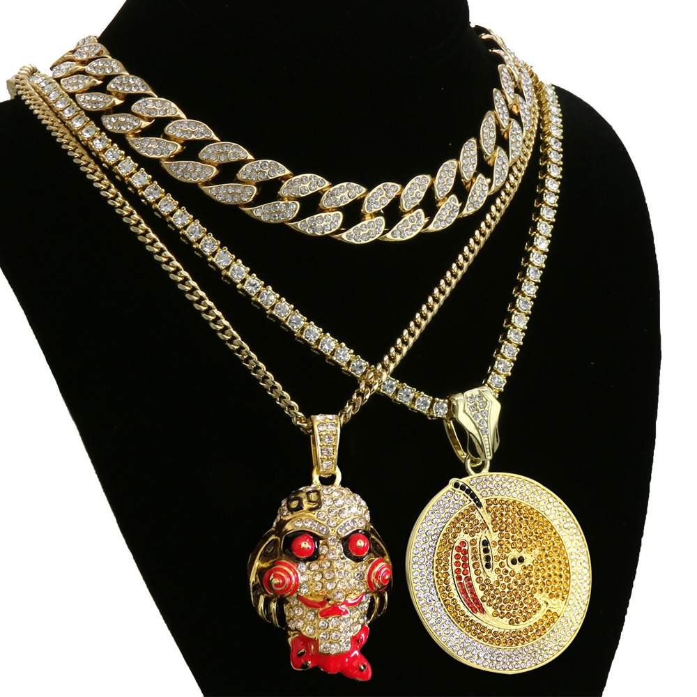Hip Hop Mask Necklace & Colorful Round Pendant Tennis Chain & Full Iced Out Crystal Cuban Necklace
