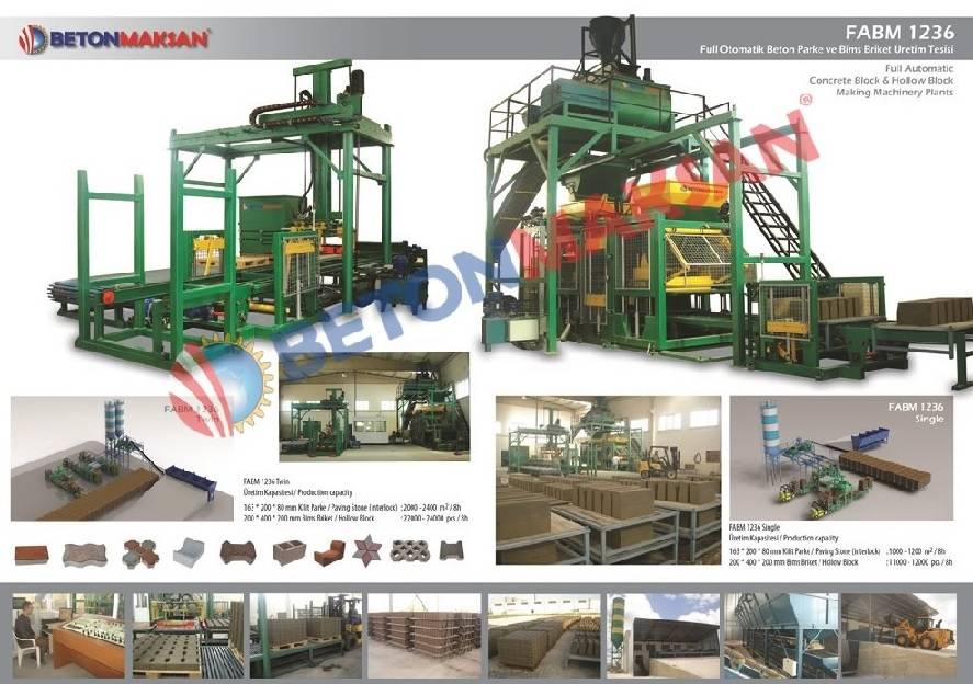 1236 FULLY AUTOMATIC CONCRETE BLOCK & HOLLOW BLOCK MAKING MACHINERY PLANTS