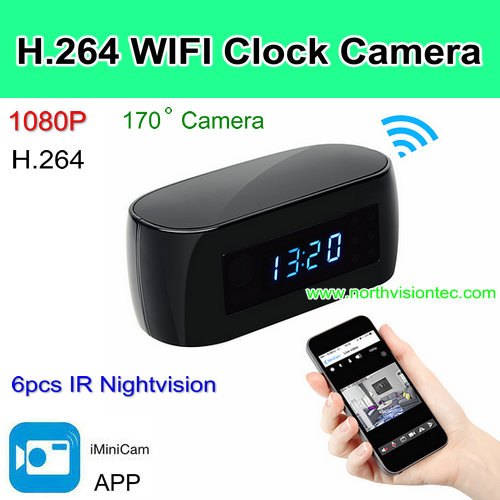 WI-Z16,New WIFI clock camera, 12Mega pixel Camera,P2P/IP, H.264/1080p, Camera 170degree, APP Control