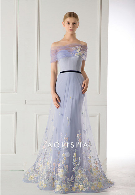 Strapless Colored Beaded Lace Applique A-Line Satin & Tulle