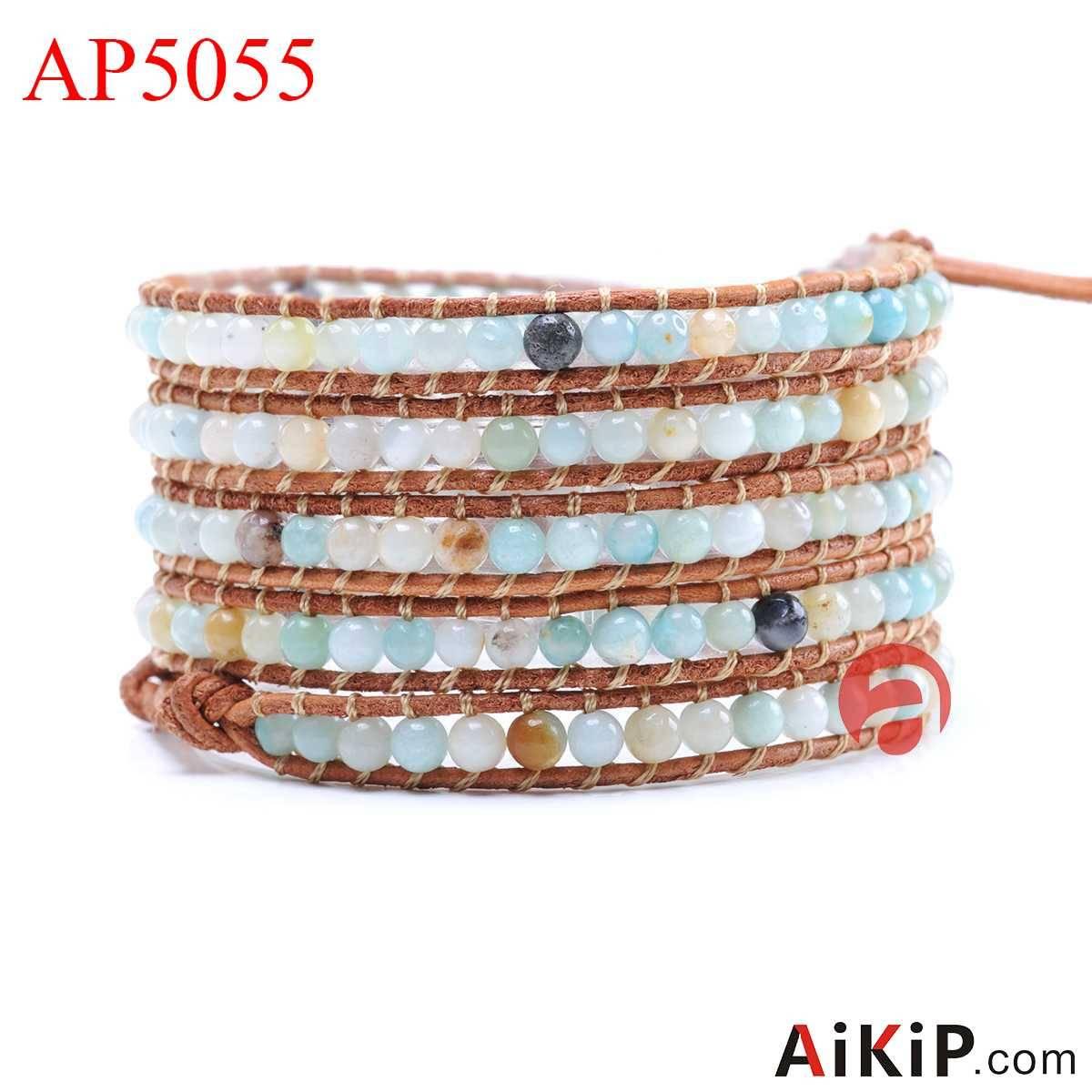 round amazon stone leather stainless steel bracelet