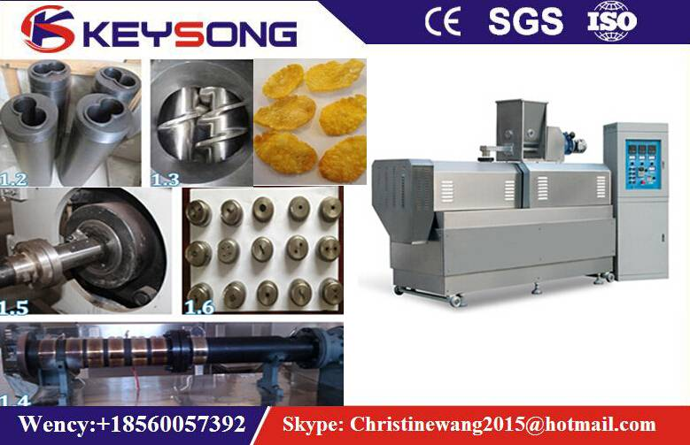 Corn Flakes Processing Line, Breakfast Cereal Extrusion Machine