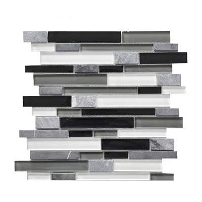 strip marble mixed clear glass mosaic tile