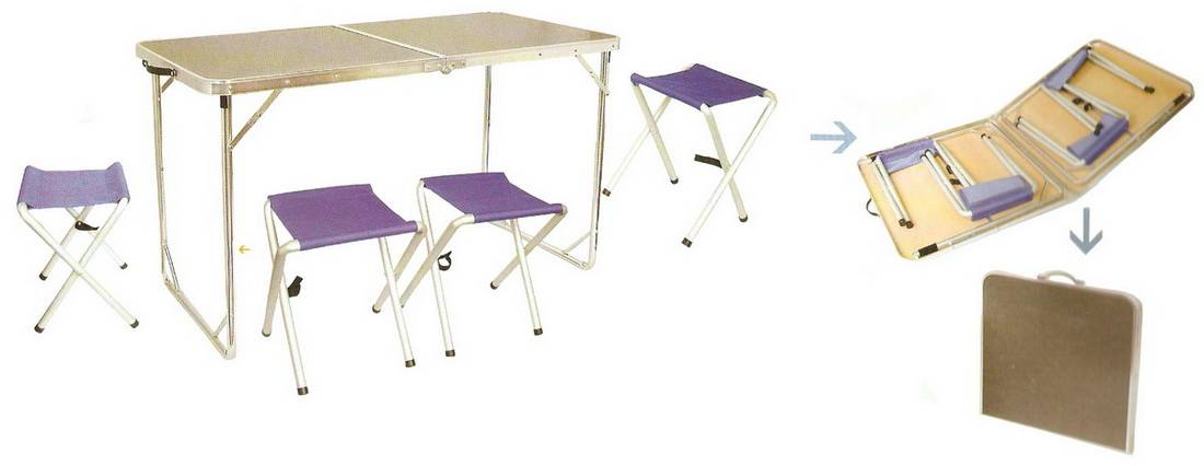 Aluminium alloy fold table and chair suite