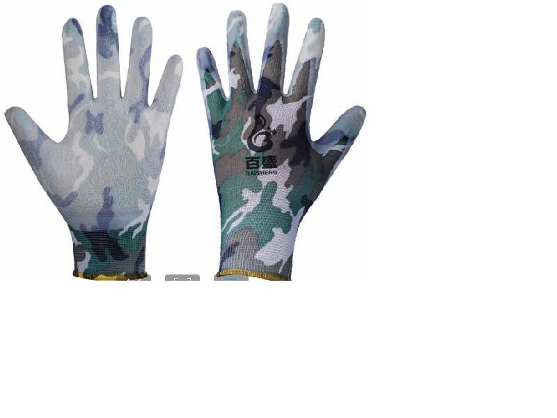 13G flower polyester glove,Latex crinkle