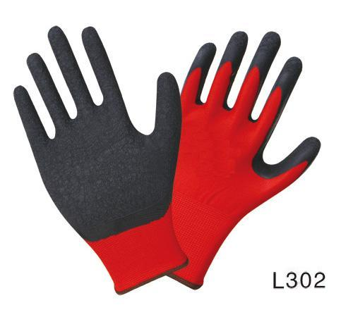 13G nylon/polyester liner gloves,natural latex palm coated, crinkle finished