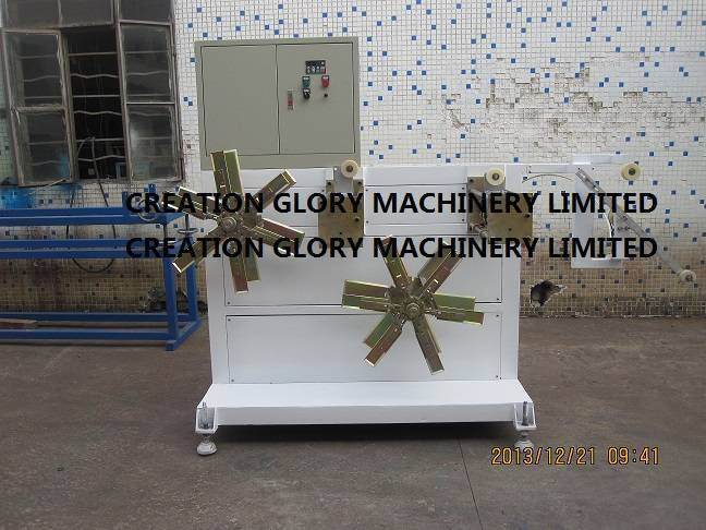Double station winder for plastic extruder