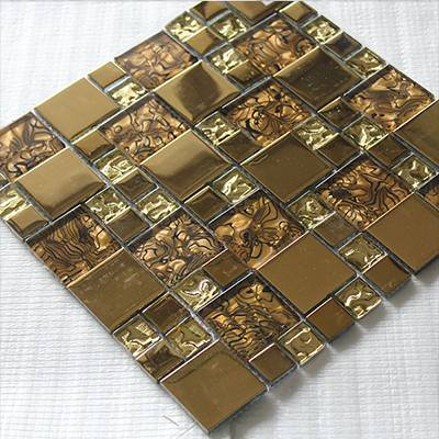 stainless steel mosaic tile gold color