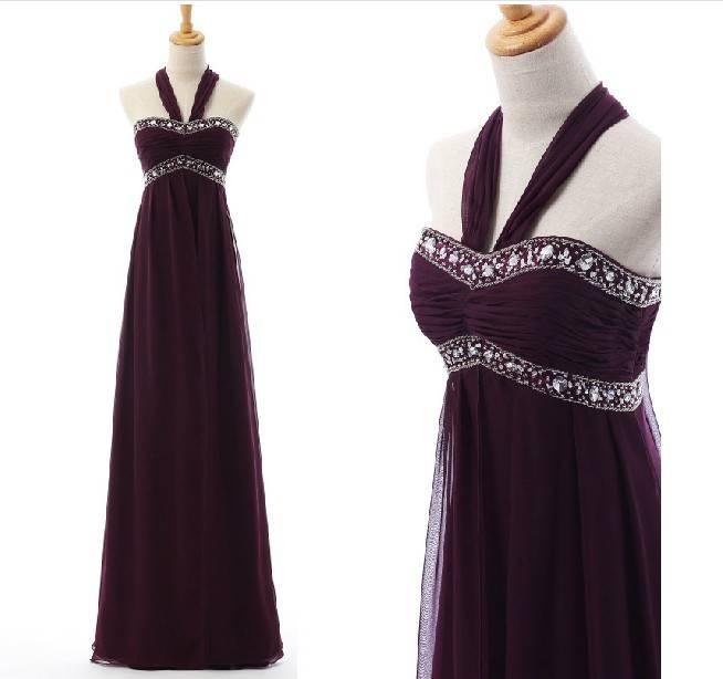 Customized Made Halter Purple Long Belt Beaded Long Satin Evening Dress LF1219