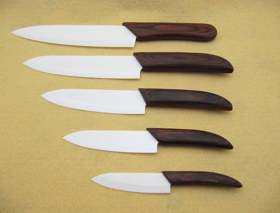 High quality 3+4+ 5+6+7 White Ceramic Knife with color wood Handle (Including 5 Ceramic Knives)