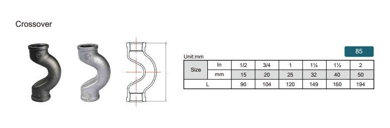 China Malleable iron pipe fitting Cross over-85 with high quality and proper price