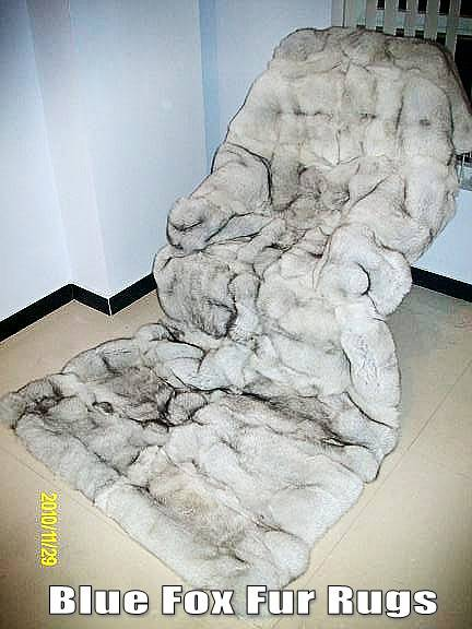 Blue Fox Fur Throws and Rugs