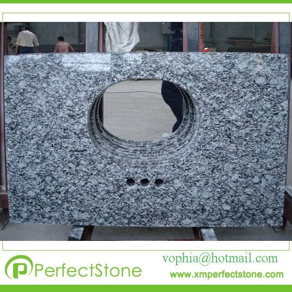 Prefab Water Wave counter tops with facuet and ceramic bowl